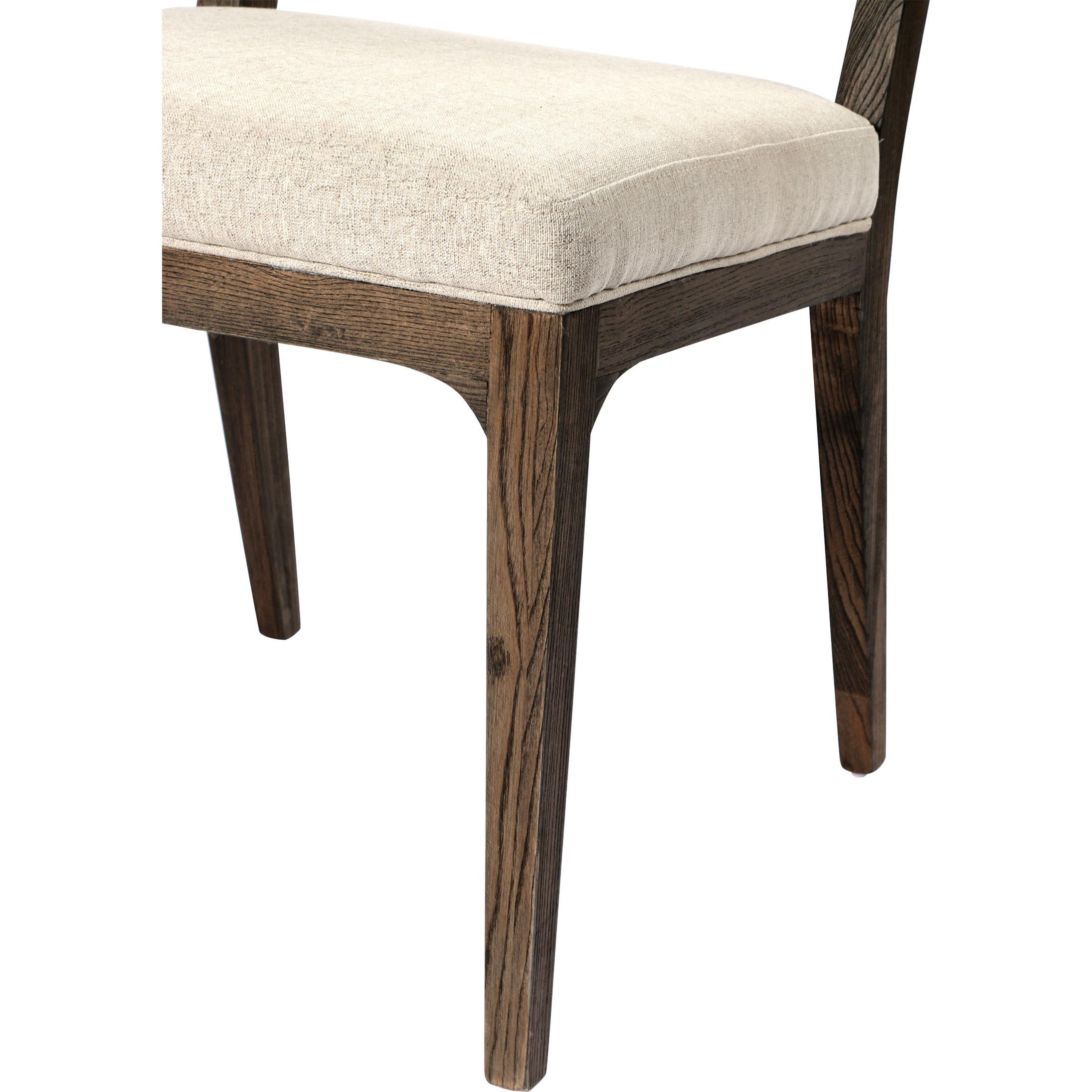 Arlene French Country Tuffed Beige Linen Upholstered Wood Dining Chair
