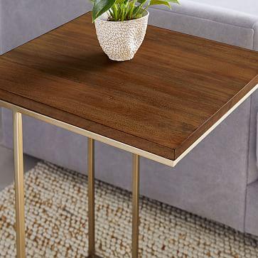 Streamline C-Side Table, Dark Walnut, Light Bronze