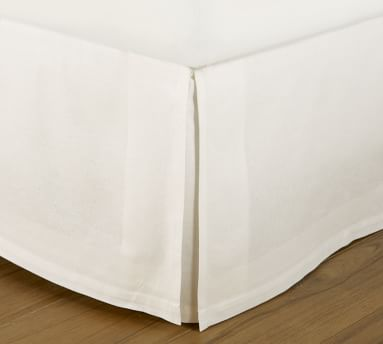 "PB Essential Cotton & Linen Bed Skirt, 18"" Drop, Queen, White"