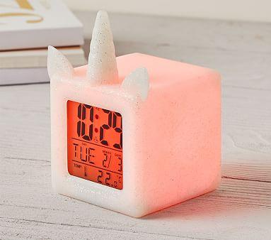 Light Up Silver Unicorn Digital Clock