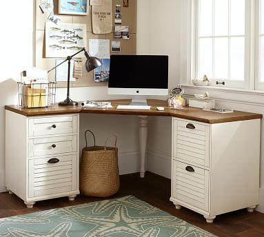 Whitney 6-Drawer Corner Desk, Almond White