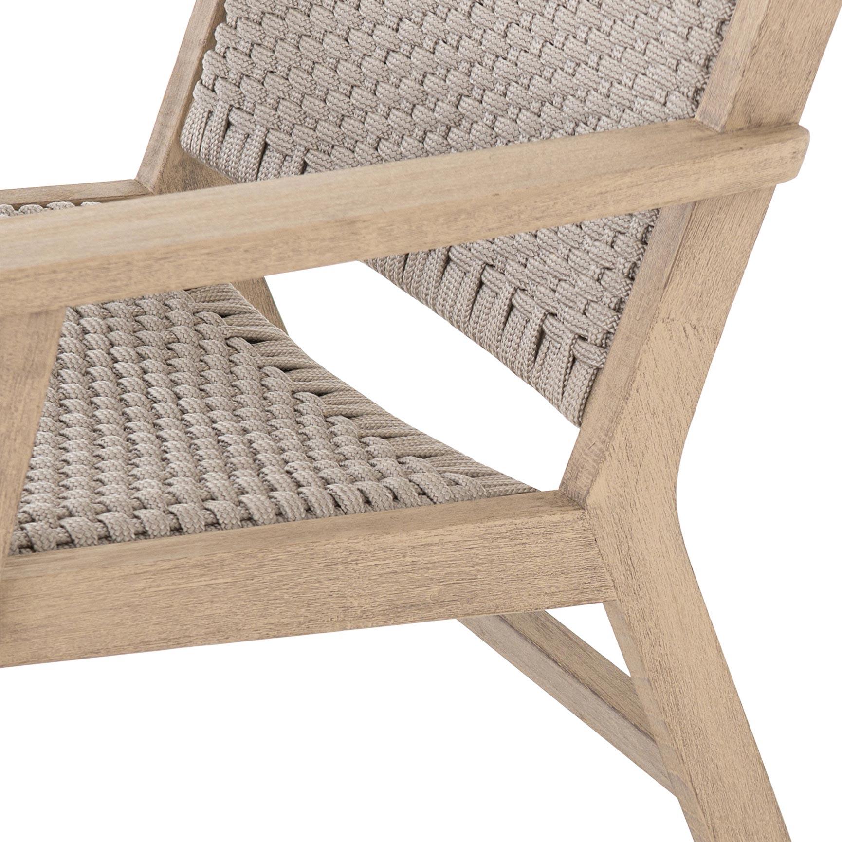 Udo Coastal Beach Grey Handwoven Rope Seat Brown Teak Outdoor Armchair