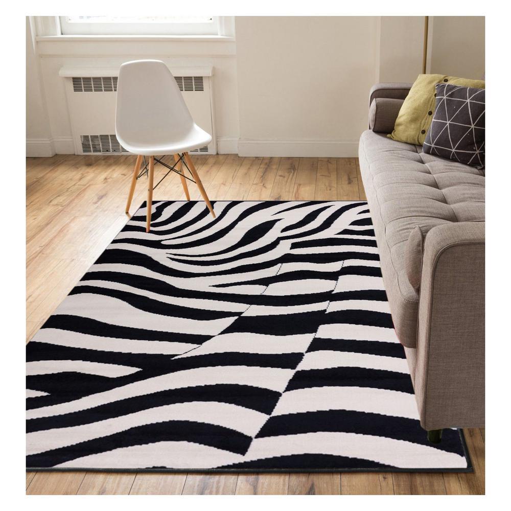 Miami Zebra Animal Print Stripe Black 8 ft. x 10 ft. Area Rug