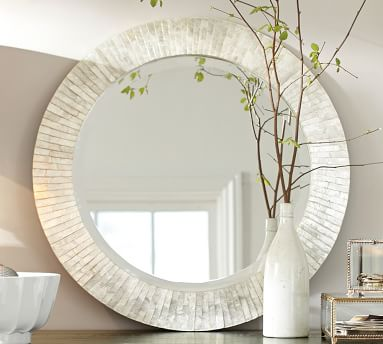 Miranda Capiz Round Mirror