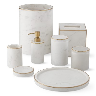 Marble and Brass Wastebasket