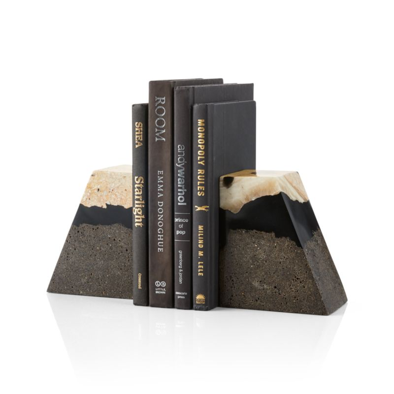Lava Resin Stone Bookends, Set of 2