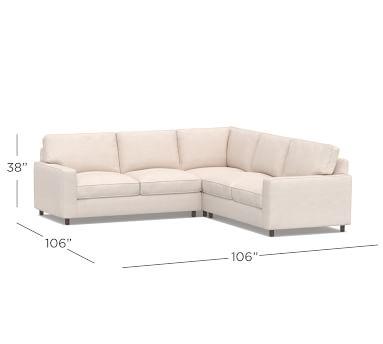 PB Comfort Square Arm Upholstered 3-Piece L-Shaped Corner Sectional, Box Edge Memory Foam Cushions, Sunbrella(R) Performance Sahara Weave Oatmeal