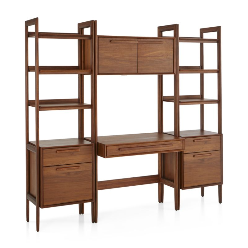 Tate Bookcase Desk with Power with 2 Bookcase File Cabinets