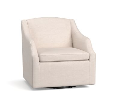 SoMa Emma Upholstered Swivel Armchair, Polyester Wrapped Cushions, Performance Heathered Tweed Ivory