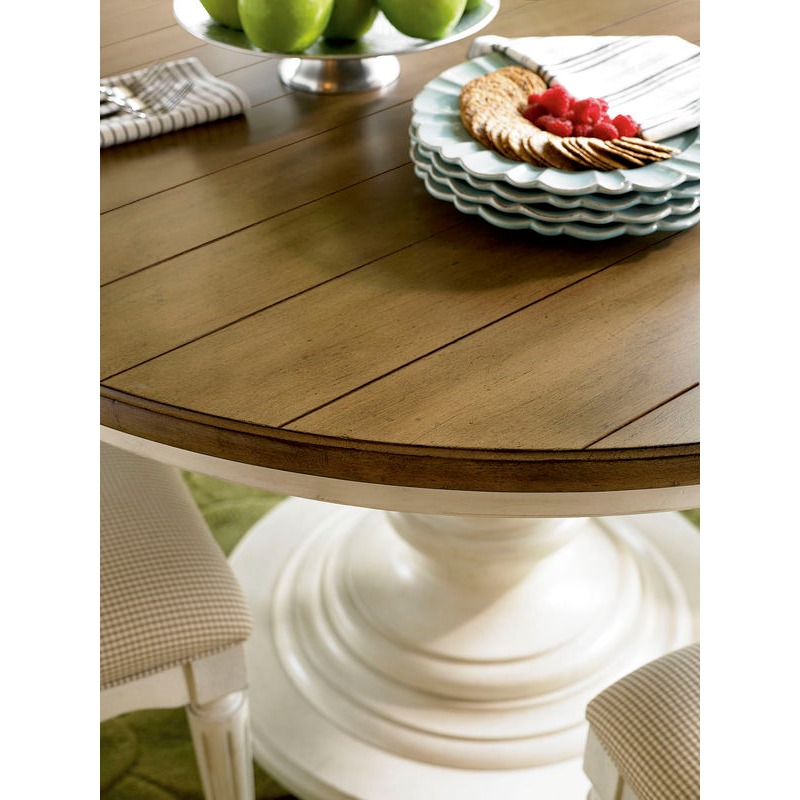 Yvonee French Country Brown Top Ivory Wood Round Pedestal Extendable Dining Table