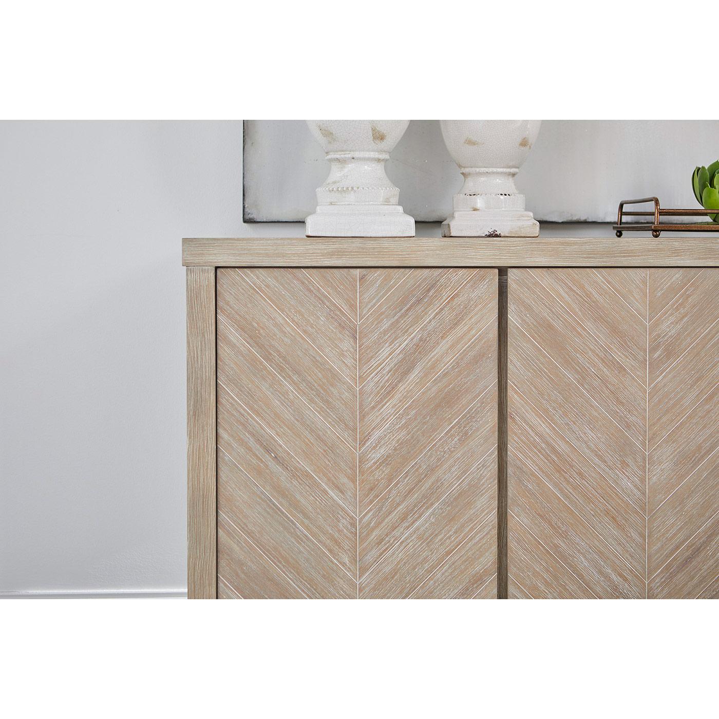 Astrid Modern 3-Door Chevron Pattern Natural Brown Solid Acacia Media Sideboard