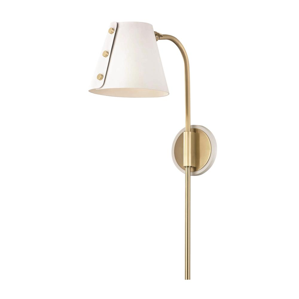 Mitzi by Hudson Valley Lighting Meta 1-Light Aged Brass LED Wall Sconce with Plug and White Accents