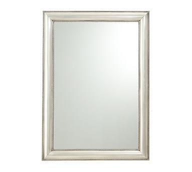 "Silver Beaded Wall Mirror, 30 x 42"""