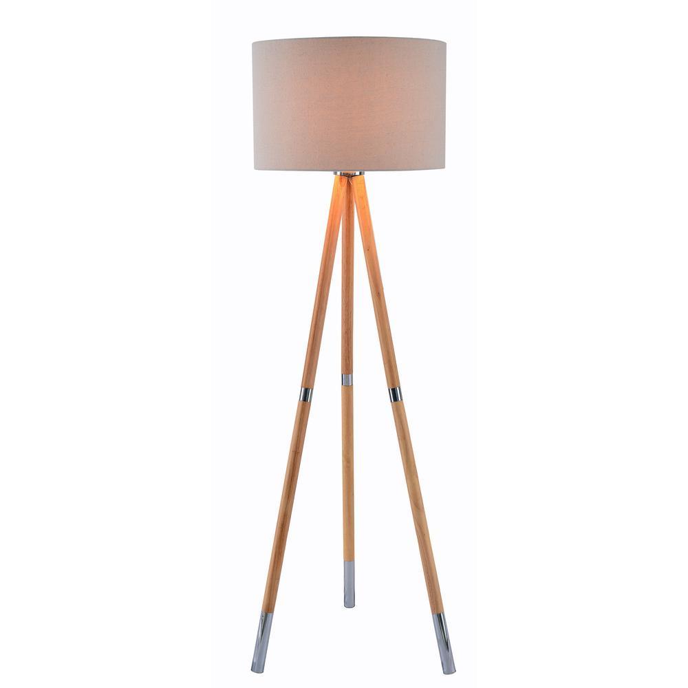 Kenroy Home Jordon 60 in. Wood Grain Floor Lamp with Cream Shade
