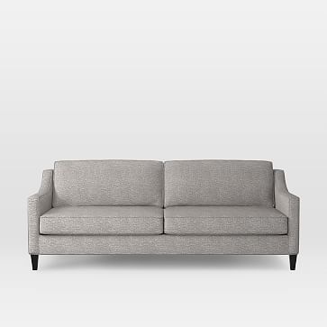 """Paidge 86.5"""" Grand Sofa, Poly, Deco Weave, Feather Gray, Taper Chocolate"""