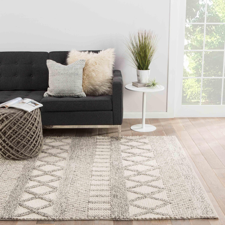 Louis Modern Ivory Grey Wool Stripe Pattern Rug - 8' x 10'