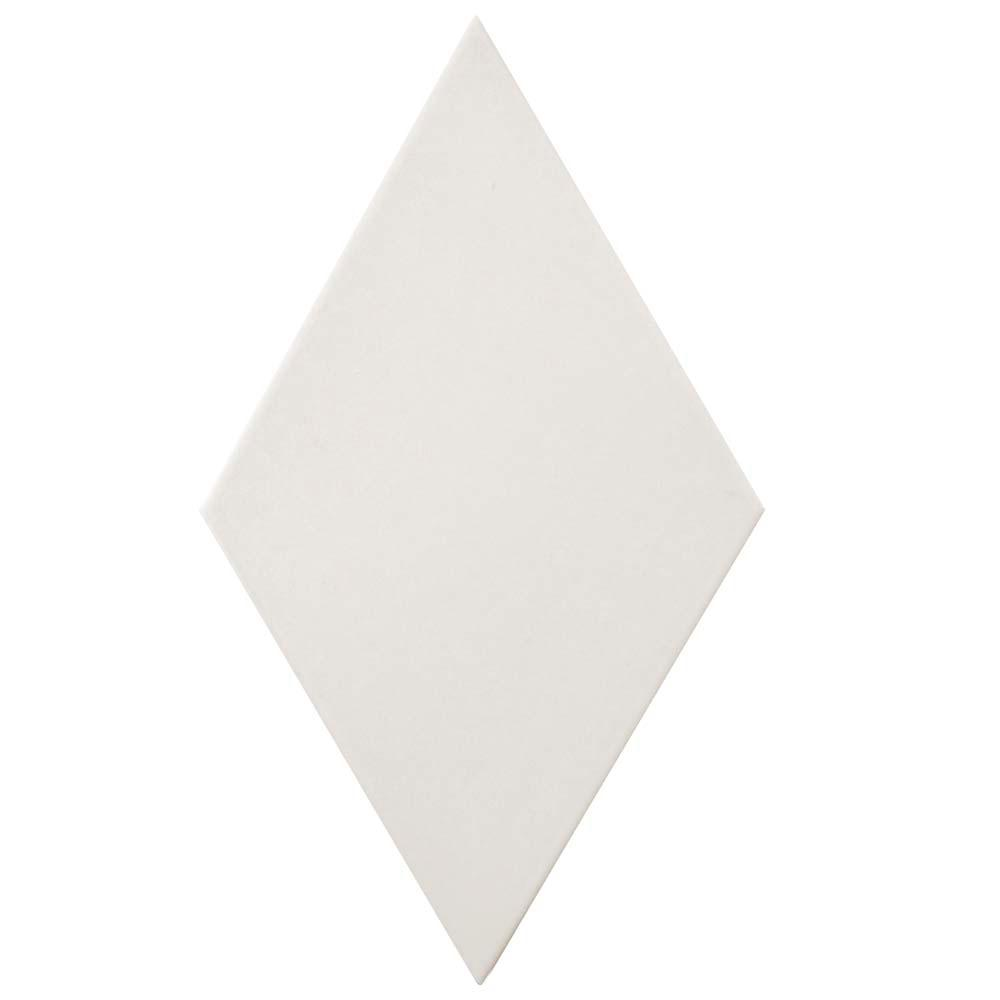 Merola Tile Rhombus Smooth White 5-1/2 in. x 9-1/2 in. Porcelain Floor and Wall Tile (11.68 sq. ft. / case), White/Medium Sheen