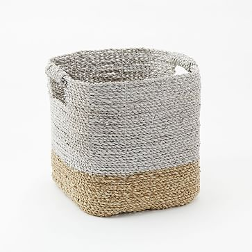 Two-Tone Woven Baskets, Natural/White, Storage Basket