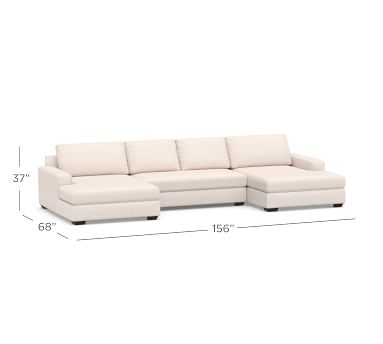 Big Sur Square Arm Upholstered U-Double Chaise Sofa Sectional with Bench Cushion, Down Blend Wrapped Cushions, Performance Chateau Basketweave Ivory