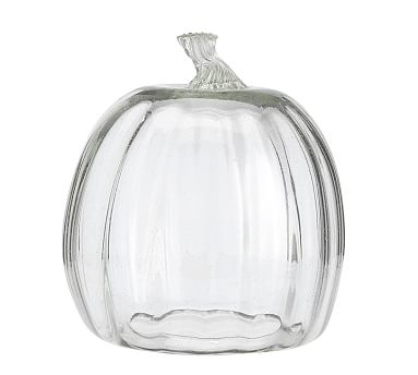Recycled Glass Pumpkin Cloche, Clear - Large