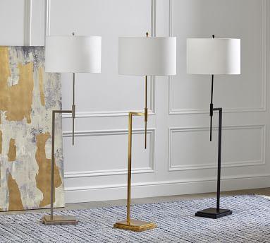 Atticus Metal Floor Lamp, Nickel with Ivory Shade