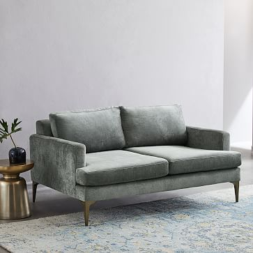 Andes Loveseat, Poly, Chunky Basketweave, Charcoal, Dark Pewter