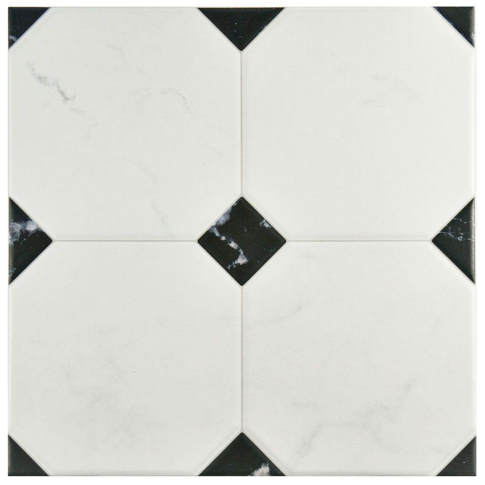 Merola Tile Betera Jet Blanco 13-1/8 in. x 13-1/8 in. Ceramic Floor and Wall Tile (10.76 sq. ft. / case), White And Black/Low Sheen