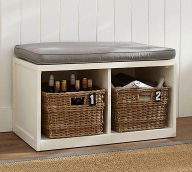 """Ryland Modular Banquette Storage Bench, 34"""", Antique White"""