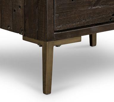Braden Reclaimed Wood Nightstand, Dark Carbon/Antique Brass