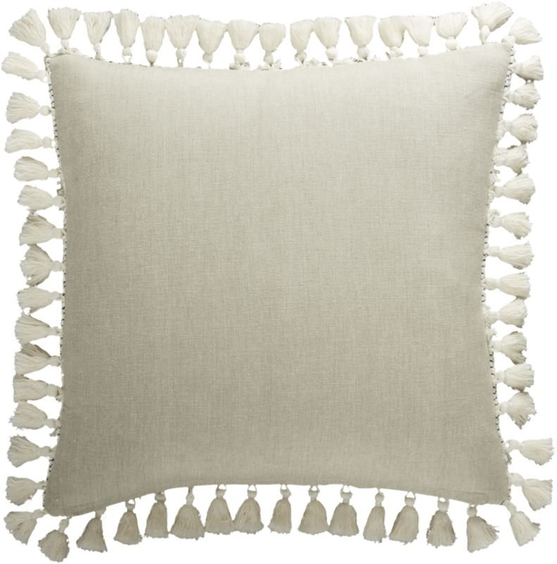 """""""18"""""""" Liana White Tassel Pillow with Feather-Down Insert"""""""