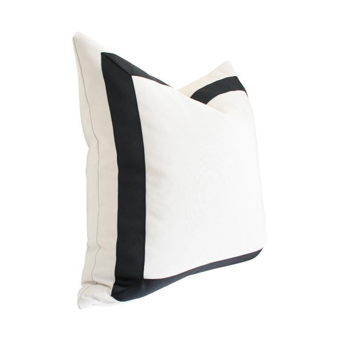 Solid White with Grosgrain Ribbon Border - 20x20 pillow cover / Black