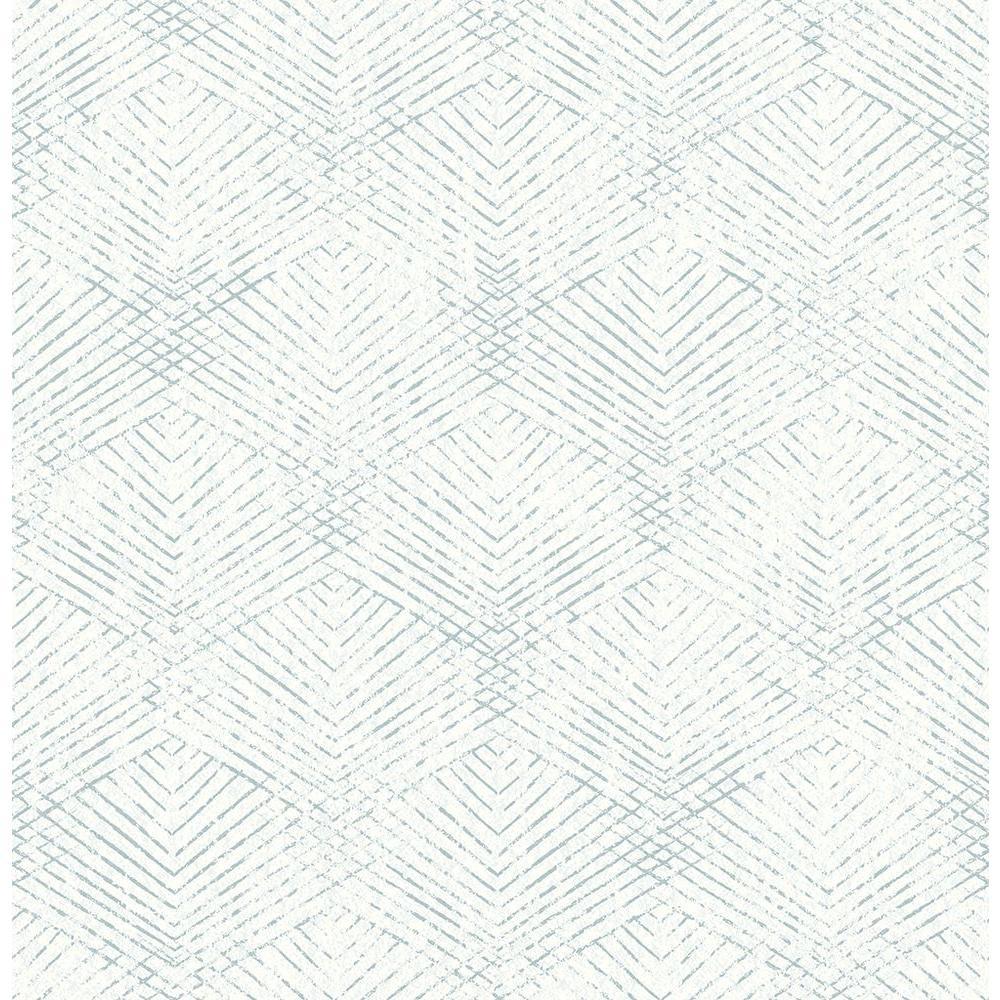 Tangent Teal (Blue) Geometric Wallpaper Sample