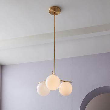 Sphere + Stem Convertible Flushmount, Brass/Milk Glass, 3-Light