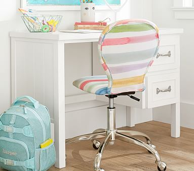 Swivel Round Upholstered Desk Chair, Kayla Rainbow, Unlimited Flat Rate Delivery