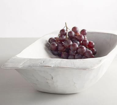 Wooden Dough Bowl Trays, White, Large