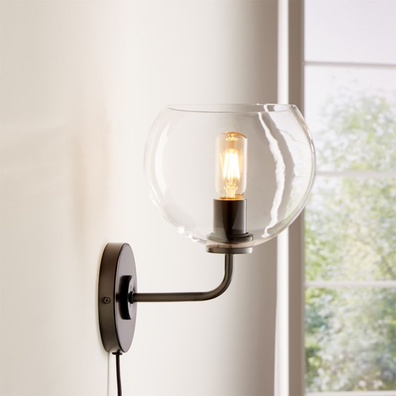 Arren Brass Wall Sconce with Clear Round Shade