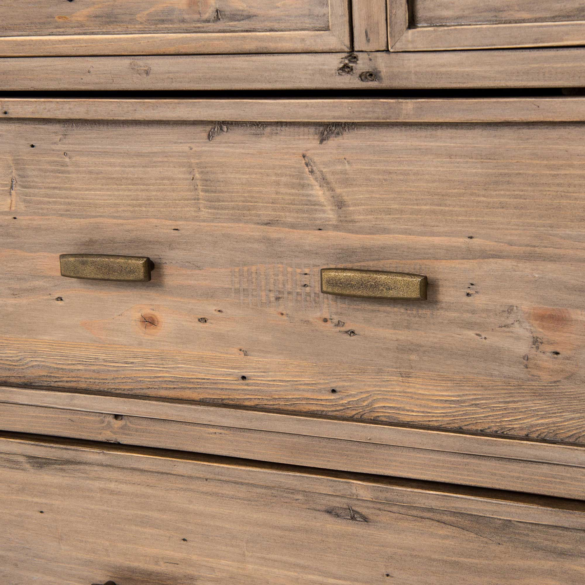 Tom Rustic Reclaimed  Pine Antique Brass Dresser