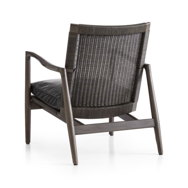 Sebago Midcentury Rattan Chair with Leather Cushion