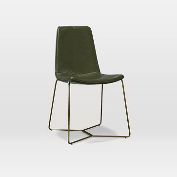 Slope Leather Dining Chair, Heritage Leather, Verdant, Antique Brass Leg