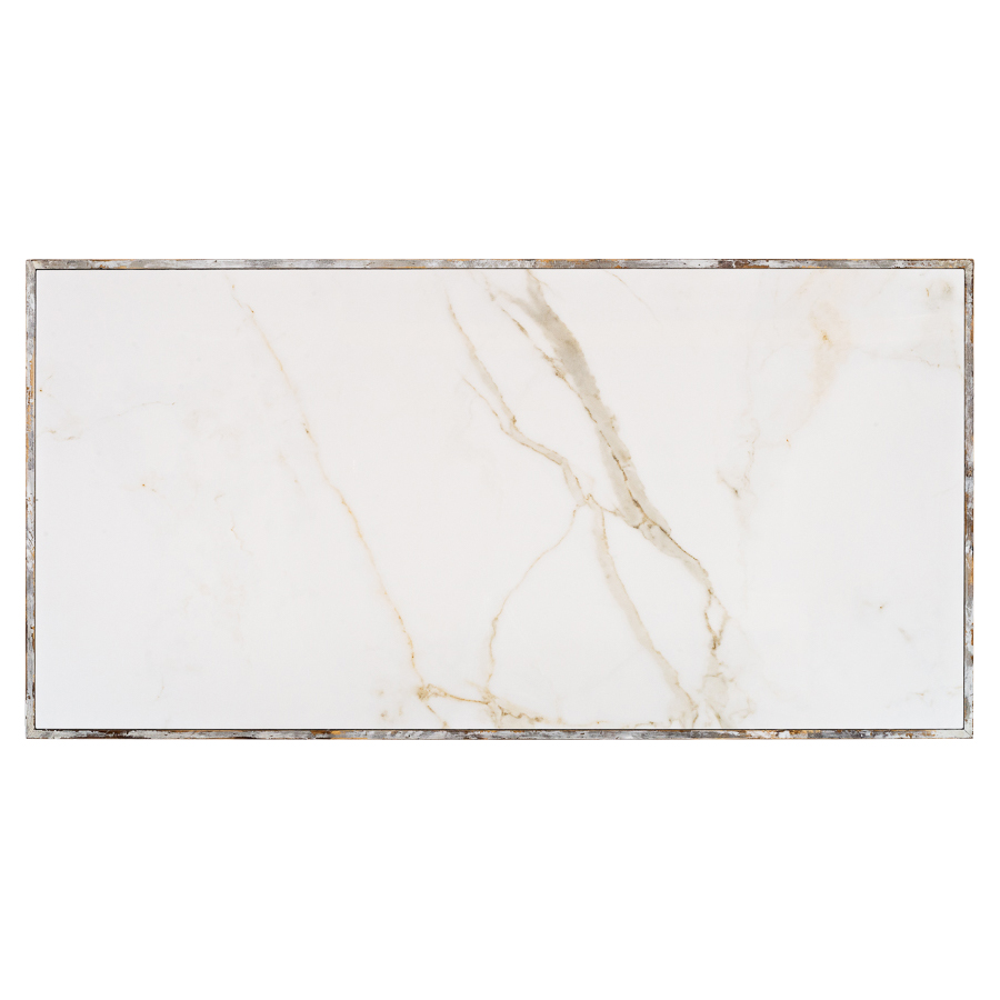 Rosita Rustic Lodge Whitewash Oak Carved Pedestal White Marble Top Dining Table