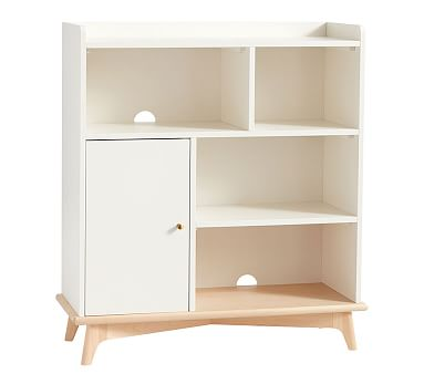 Sloan Storage Bookcase, Simply White/Natural, Unlimited Flat Rate Delivery