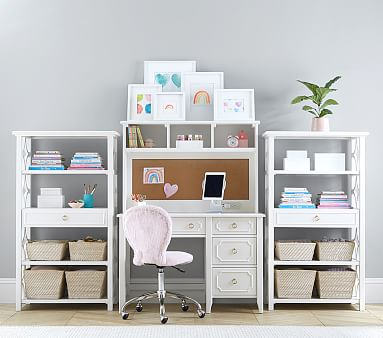 Ava Regency Storage Desk Hutch Set, Simply White, Unlimited Flat Rate Delivery