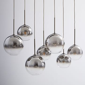 Sculptural Glass 7-Light Linear Chandelier, S-M Globe, Silver Ombre Shade, Bronze Canopy