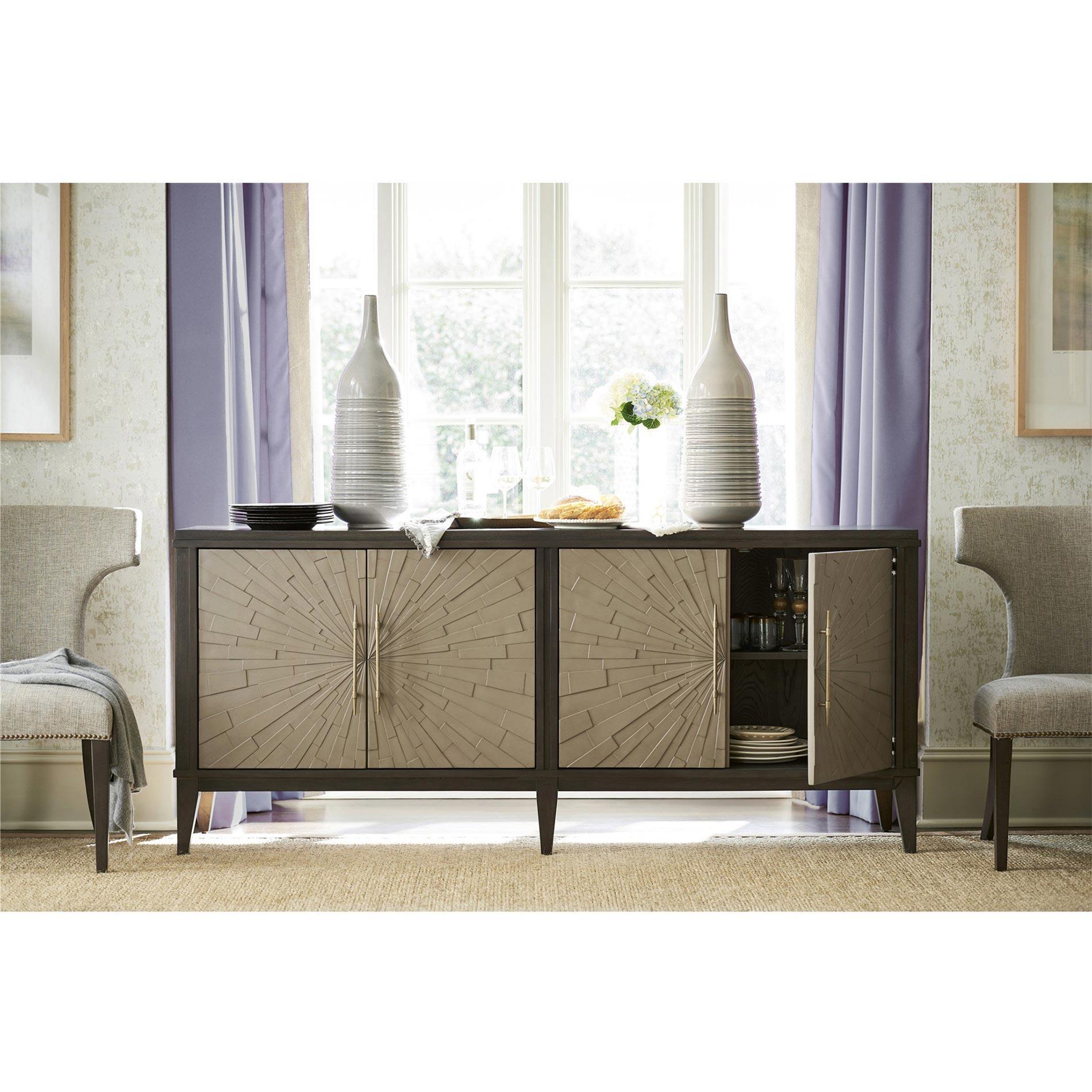 Zeya Mid Century Modern Starburst Gold Imprint Brown Wood Buffet Sideboard