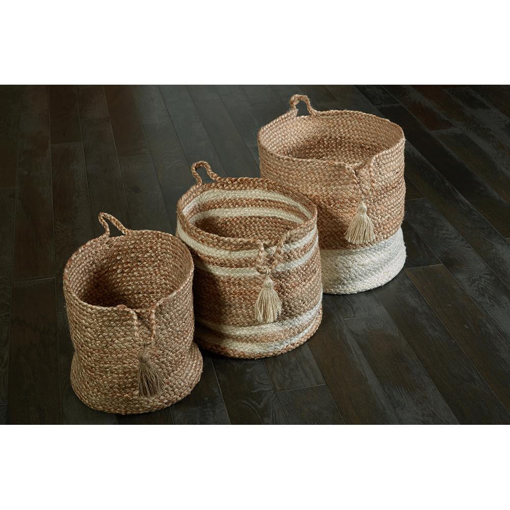 "Natural Jute Decorative Storage Basket, Brown 17"""