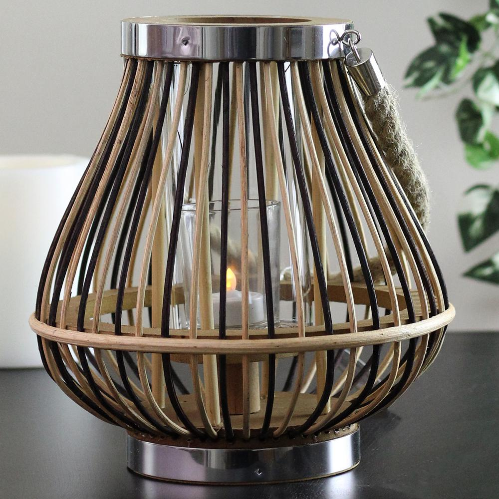 9.25 in. Rustic Chic Rattan Lantern Candle Holder, Browns/Tans