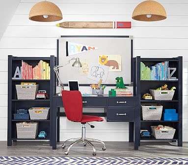 Camp Storage Desk & Hutch Set, Navy, Unlimited Flat Rate Delivery