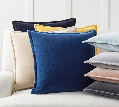 "Washed Velvet Pillow Cover, 20"", Alloy Gray"
