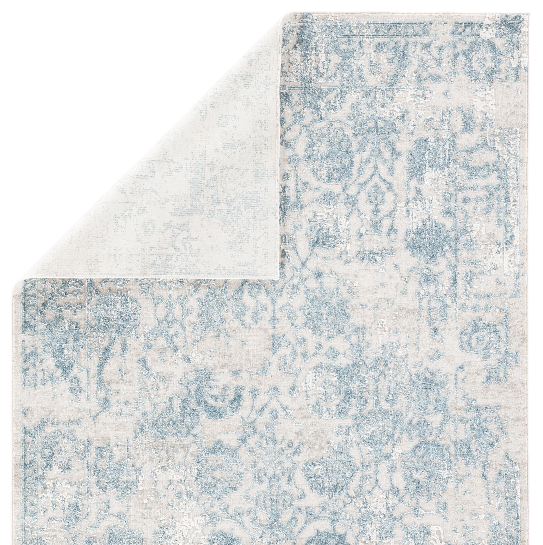 Clara Floral Silver/ Blue Area Rug (9'X12')