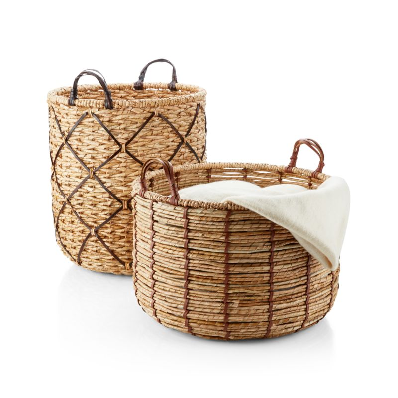 Emory Large Brown Leather-Handle Basket
